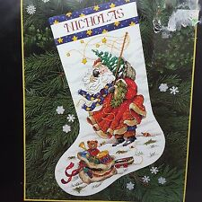 Vtg '96 Dimensions Gold Christmas Windswept Santa Cross Stitch Stocking Kit NIP