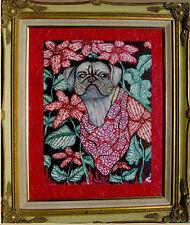"""Painting W/Frame-Pug Dog by DEDE SHAMEL Listed Artist 22""""x26"""" NICE"""