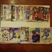 St. Louis Blues Lot of 25 cards-70's/80's Cards, Blues Heros, Rookie Cards