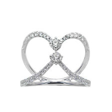 WIDE 14K WHITE GOLD PAVE ROUND DIAMOND CROSSOVER BAND COCKTAIL RING