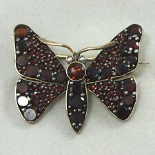 Vtg Antique Victorian Sterling 800 Silver BOHEMIAN GARNET Butterfly Brooch Pin