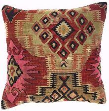 Tribal Vintage Unique Handmade Kilim Pillow 18''x18'' kilim cushion cover