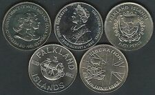 FIVE DIFFERENT FALKLAND ISLANDS UNC CROWN SIZE 50 PENCE