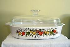"""10 x 10"""" SPICE OF LIFE  Corning Ware Covered Casserole  Bake A-10-B  Le Romarin"""