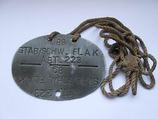 2ww heavy flak   German  dog tag / identity disc 89  STAB/SCHW  FLAK ABT 223