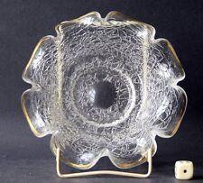 Antike Schale Eisglass um 1870 Böhmen Antik gewellter Rand Gold polierter Abriss