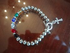 VINTAGE STERLING SILVER BEADS AND CRYSTALS BRACELET WITH CROSS-925-