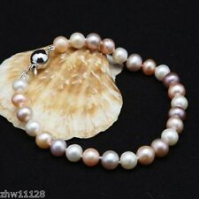 "NEW Genuine Natural 8-9mm White/Pink Pearl Bracelet 7.5"" Cultured Freshwater"