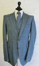 VTG bespoke 3 piece blue red check wool tweed suit 42R 36W 33L