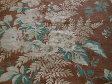 Antique French Faded Botanical Floral Fabric ~Roses Daisy Fern~ Brown Teal