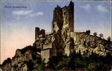 Ruine Drachenfels Königswinter Color Postkarte 1925 datiert Partie an der Burg