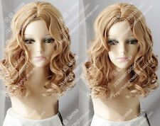 Cos Fashion brown blonde mix Medium curly  cosplay full Heat-Resistant wig