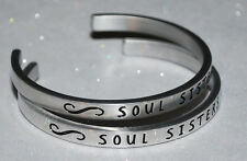 Soul Sisters Set   Engraved, Polished Bracelet + Gift Bag