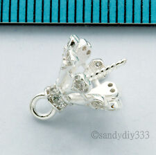 1x BRIGHT STERLING SILVER CZ PENDANT CLASP PEARL BAIL PIN 10mm CUP #2663