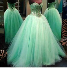 New Mint Green Beaded Prom Dress Ball Gown Long Tulle Party Quinceanera Gown2015