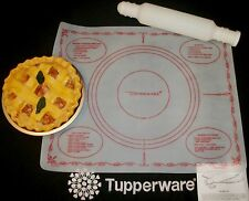 Tupperware RED 1965 Pastry Sheet Mat ~WHITE Rolling Pin ~hot cold ~fill & freeze