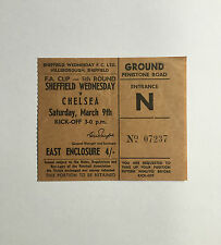 SHEFFIELD WEDNESDAY v CHELSEA Match Ticket Stub FA Cup 5th Round 1968 March 9th