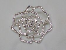 NEW Vera Wang Design Small Rose Outline Pin Brooch Clear Swarovski Crystals