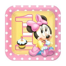 8 Disney Baby Minnie Mouse 1st Birthday Party 9in Square Lunch Paper Plates