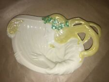 Belleek Ireland Green Mark Porcelain Art Noveau Style Lady with Harp Small Dish