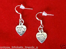 SILVER MADE WITH LOVE HEART CHARM DANGLE EARRINGS~MOTHERS DAY GIFT FOR MOM HER