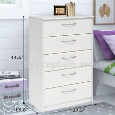 Bedroom Storage Dresser Chest 5 Drawer Modern Wood Furniture White