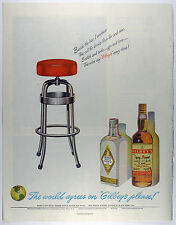 Vintage 1952 Large Magazine Print Ad: GILBEY'S GIN - Bar Stool