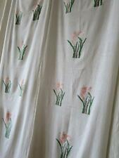 Pair of Long Antique Hand Embroidered Panels- Pink Irises- Circa 1910