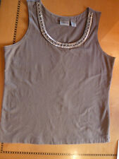 Chicos Slate Gray Beaded Shell Tank Embellished w/ Pearls & Rhinestones/Beads  1