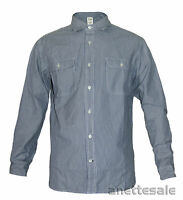 TIMBERLAND BNWT Striped Mens Shirt Blue/White Cotton Button-Pockets Sizes XS-XXL