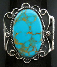 Navajo Silver and Turquoise Bracelet/Cuff Native American Signed NEZ *892
