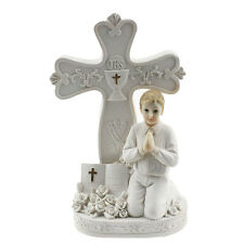 """Praying communion boy by a cross 8"""" tall all in white poly resin"""