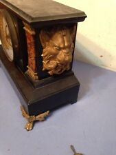 Rare Unusual New Haven Iron Case Mantle Clock With Oversize Lions Decor
