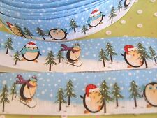 1M x Penguin Christmas Snow GROSGRAIN RIBBON, Craft, Bow,Cake 25MM *UK*