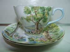 Shelley Fine Bone China WOODLAND Cup and Saucer Set Blue Handle and Gold Trim