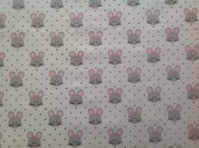 ~FLANNEL~ Mouse ~ Childrens ~Quilting~Fabric~ Flannelette ~Baby~Grey~Girls~ FQ ~