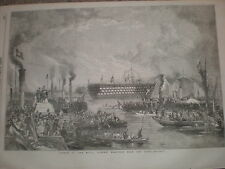 Launch of the HMS Royal Albert view from the river 1854 print