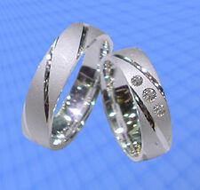 Trauringe , Eheringe mit 3 Steinen , Silber 925 , Gravur Gratis , J64-3