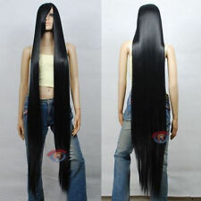 150cm 60 inch Hi_Temp Series Black Extra Long Cosplay DNA Wigs+earrings
