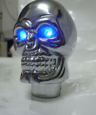 Gear Manual Shift Knob Lever Shifter Head Wicked Carved Skull Head Blue LED Eyes
