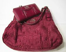 Coach Madison Gathered BERRY 18886 Sig Maggie Purse & Glossy Wallet NEW