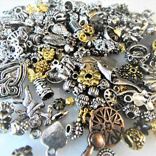 50 Mixed Metal Small Beads, Caps & Charms, silver, gold, mised designs and sizes