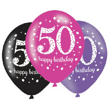 6 x 50th Birthday Balloons Black Pink Lilac Party Decorations Age 50 Balloons