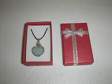 """Genuine sea glass Pale Blue necklace/pendant/18"""" waxed cord with free GIFT BOX"""