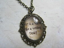 "Bronze Alice in Wonderland ""Raven Writing Desk"" Glass Necklace New in Gift Bag"