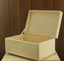 Wooden storage box chest keepsake toy plain natural pine wood no handles SD130B