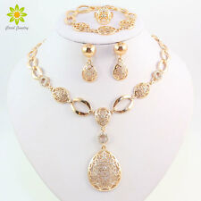 African Costume Women Wedding 18k Gold Plated Crystal Necklace Jewelry Sets