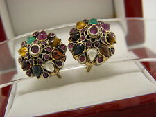 Multi-Natural Gem Stone Vintage/Antique 18k Solid Yellow Gold Earrings.#03600