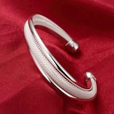Fashion Womens 925 Sterling Silver Cuff Ball End Open Bangle Love Bracelet #B222