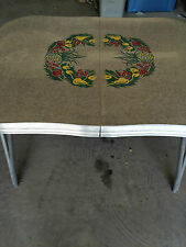 Vintage 1950s Dinette Dining Table Room Kitchen Chrome Frame Engraved Formica